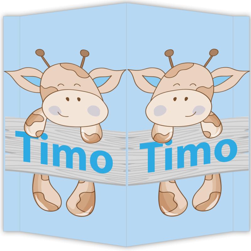 Raambord Timo - geboortebord raam giraffe steigerhout plank