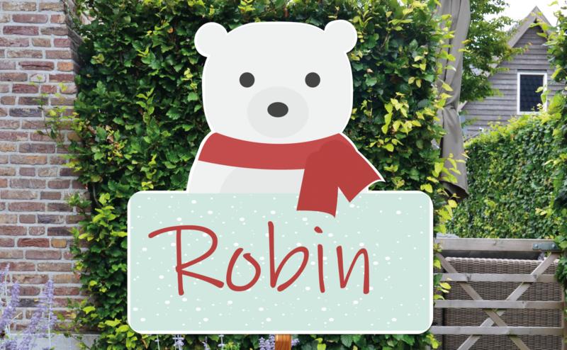 Geboortebord Robin - ijsbeer winter kerst