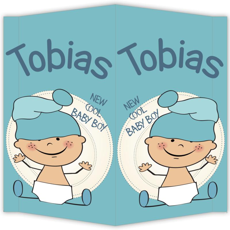 Raambord Tobias - geboortebord raam baby muts
