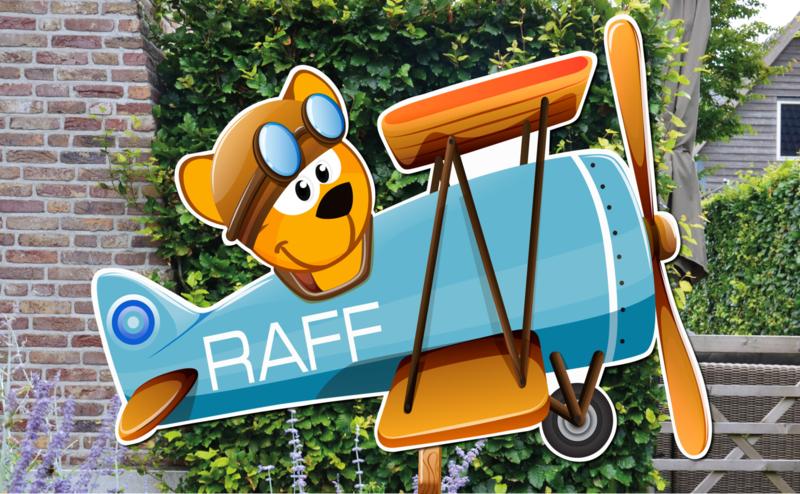 Geboortebord Raff - beertje in vliegtuigje
