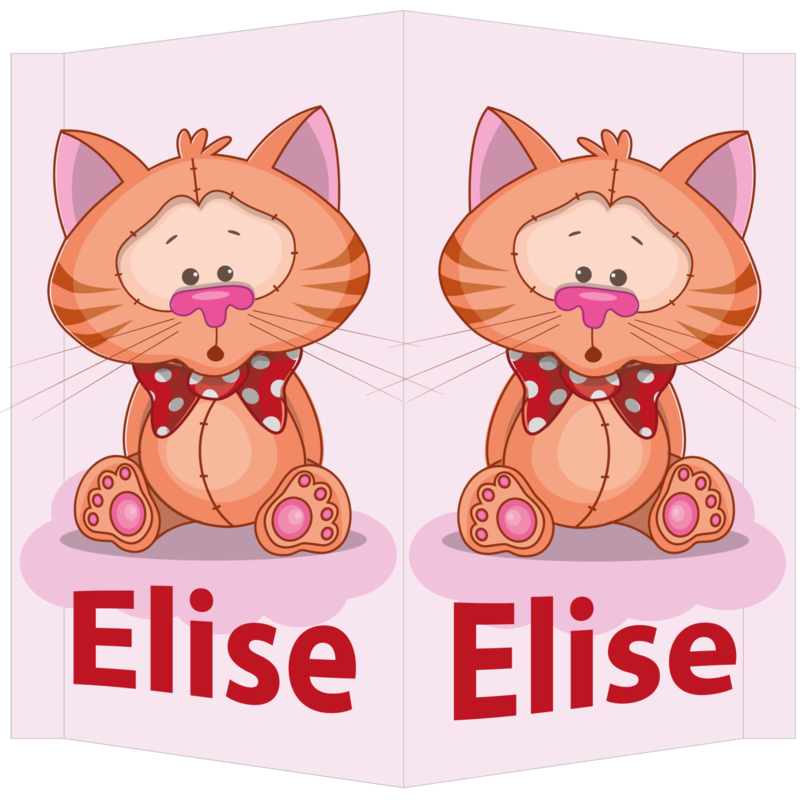 Raambord Elise - poesje met strik op wolk