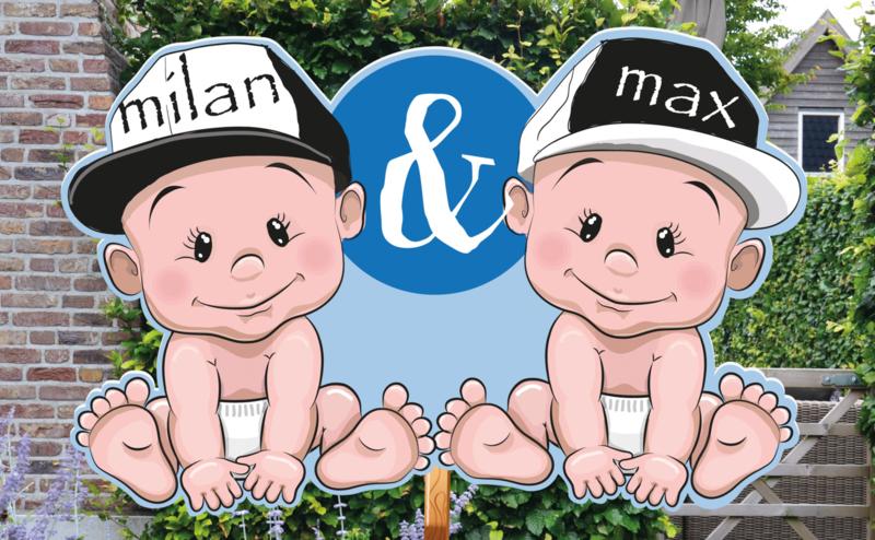 Geboortebord Milan & Max - tweeling stoere jongens met petjes