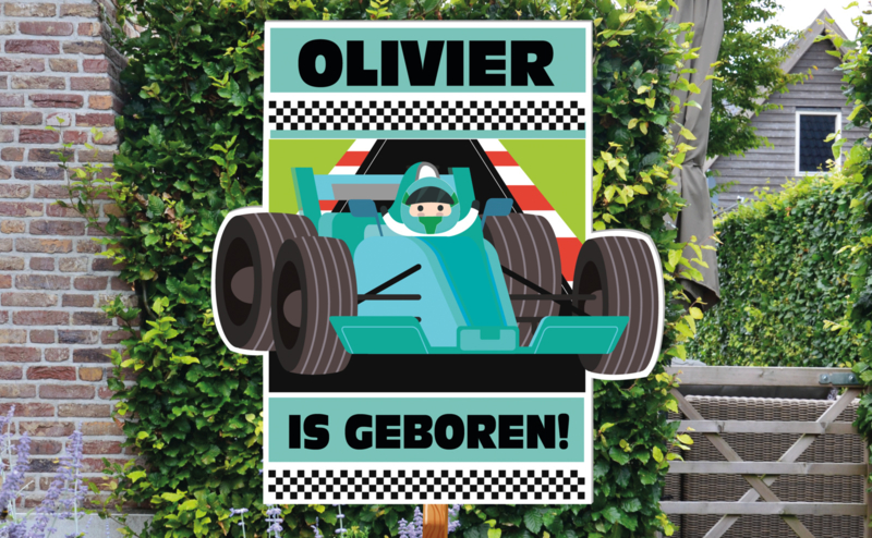 Geboortebord Olivier - formule 1 race auto