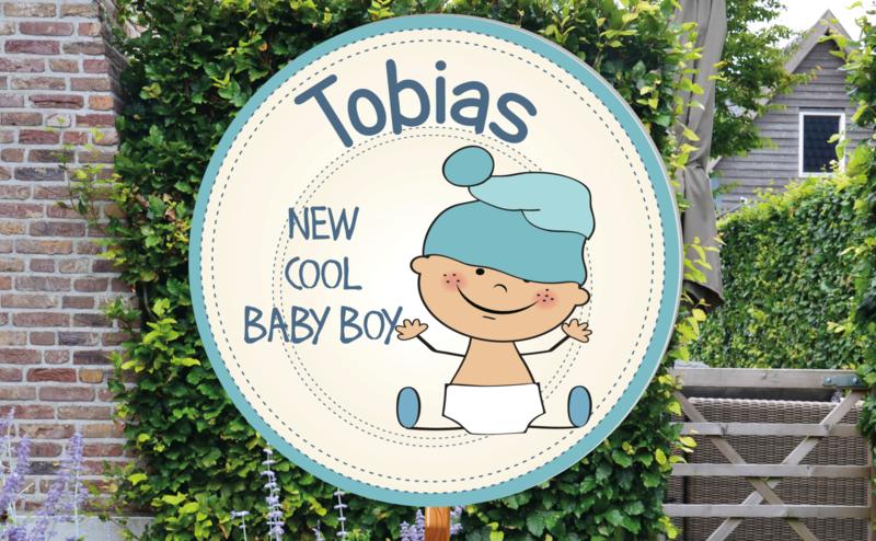 Geboortebord Tobias  -  baby luier muts