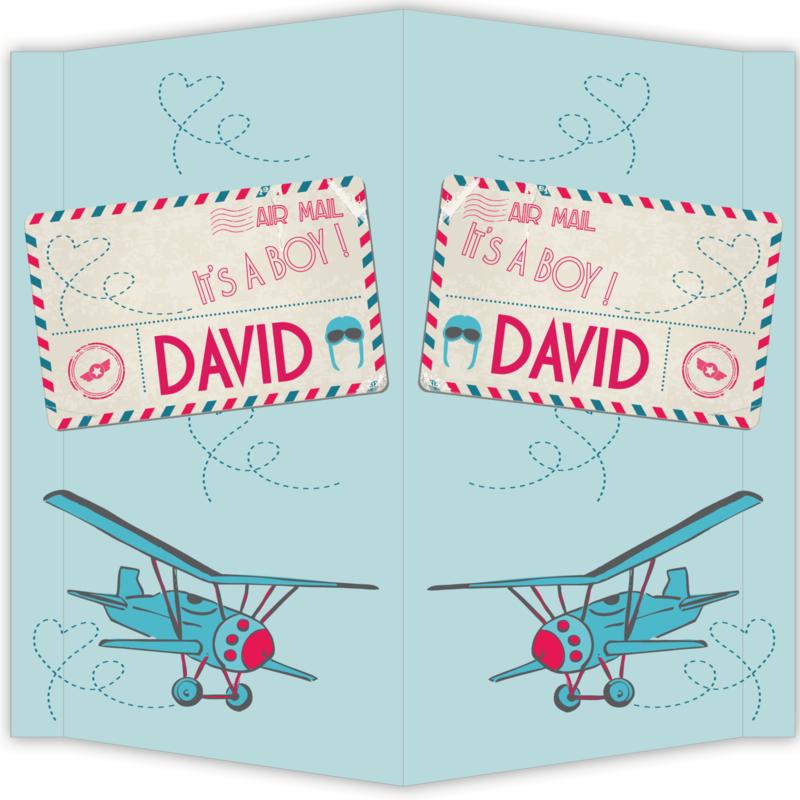 Raambord David - geboortebord raam vliegtuig luchtpost airmail briefkaart