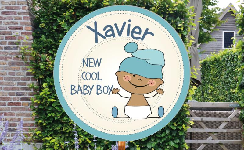 Geboortebord Xavier  -  baby luier muts