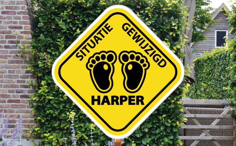 Geboortebord Harper  -  waarschuwingsbord voetjes situatie gewijzigd