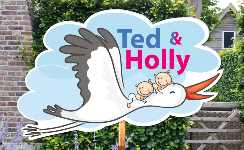 Geboortebord Ted & Holly - tweeling jongen meisje ooievaar