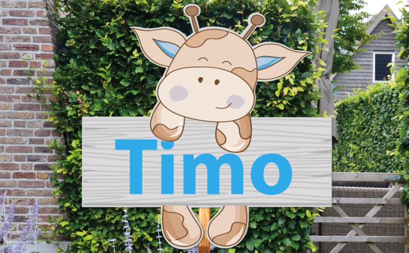 Geboortebord Timo  -  giraffe houten hek hek