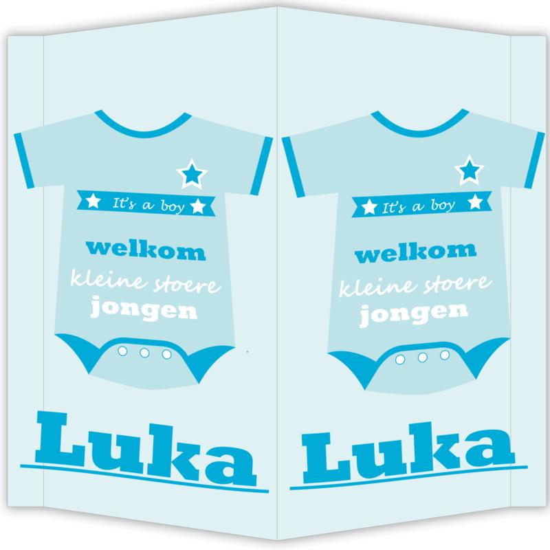 Raambord Luka - geboortebord raam rompertje