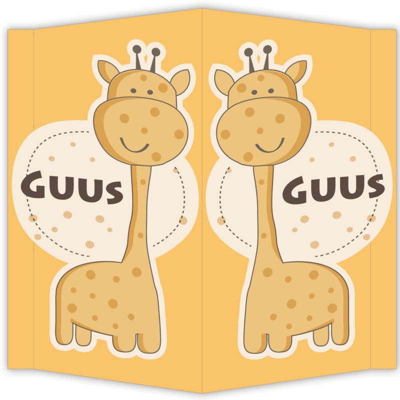 Raambord Guus - geboortebord raam giraffe