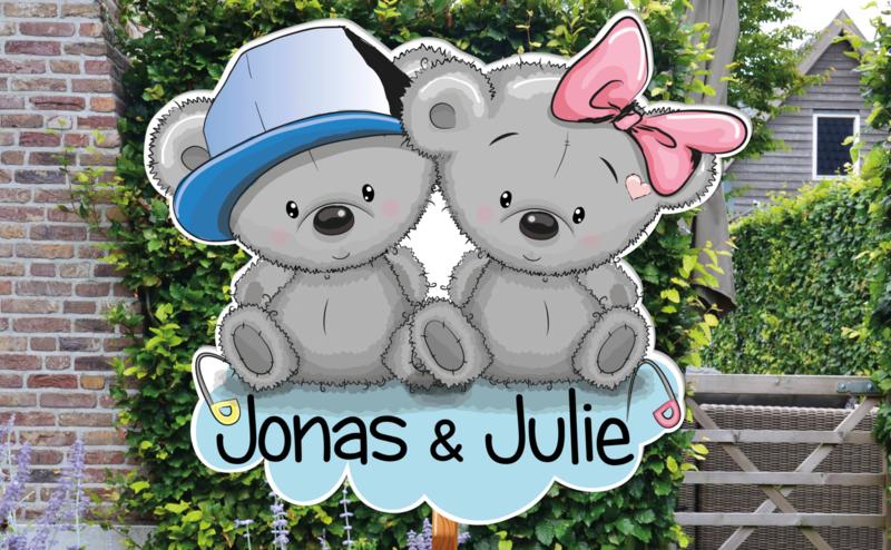 Geboortebord Jonas & Julie - beertjes met strikje en pet
