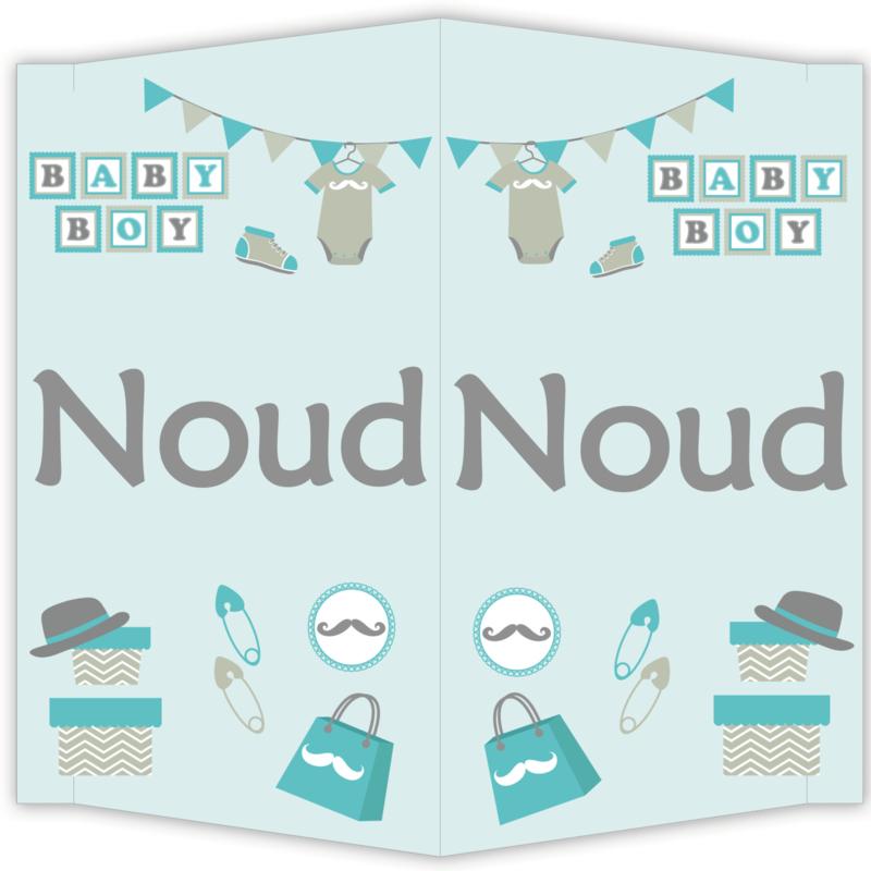 Raambord Noud - geboortebord raam scrapbook snor hoedje