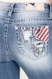 Miss Me mid-rise skinny jeans M3737S met versierde broekspijpjes