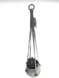 Lime-Light Plantenhanger suede leer grijs 80-90 cm