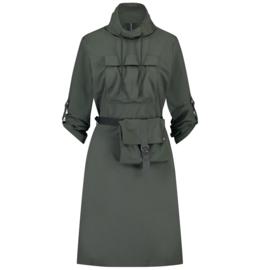 Jane Lushka 2021-2022 Kasia grey green travelstof jurk met tasje U92114095G