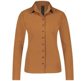 Jane Lushka 2021-2022 Kikkie karamel travelstof blouse UL7211110 met lederlook kraag