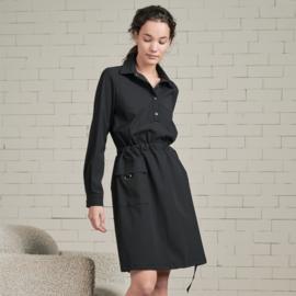 *AKTIE* Jane Lushka 2021-2022 Jade zwarte travelstof jurk met riem U92114650