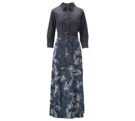 K-design 2021-2022 travelstof & spijkerstof jurk T809-P232 met riem Midnight