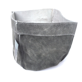 Lime-Light Pot suede leer grijs 20x17 cm