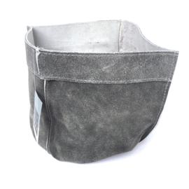 Lime-Light Pot suede leer grijs 20x17 cm
