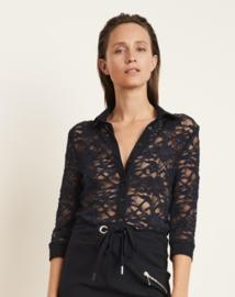 Jane Lushka 2021 Rinna blauwe kanten blouse UM7212101