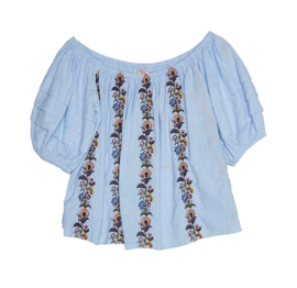 Md'M wit/blauwe Ibiza off shoulder A-lijn top 6.61.085.67