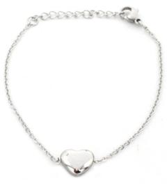 Zilverkleurige verstelbare armband met hartje