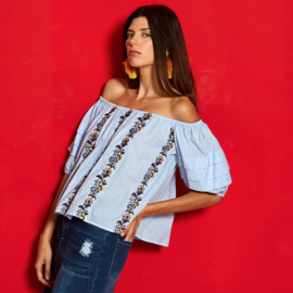 Md'M 2019 off shoulder A-lijn top/blouse streep l.blauw/wit 6.61.085.67