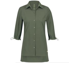 Jane Lushka 2021 Flora army groene travelstof blouse U72126080