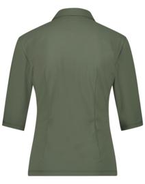 Jane Lushka 2021 Kikkie army groene travelstof blouse U7212100