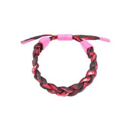 Gratis bij een bestelling vanaf €175 - Polyester armband Braid camo rood roze