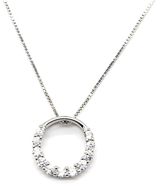 Zilveren (925S Silver) halsketting Cirkel 12mm met Zirconia steentjes