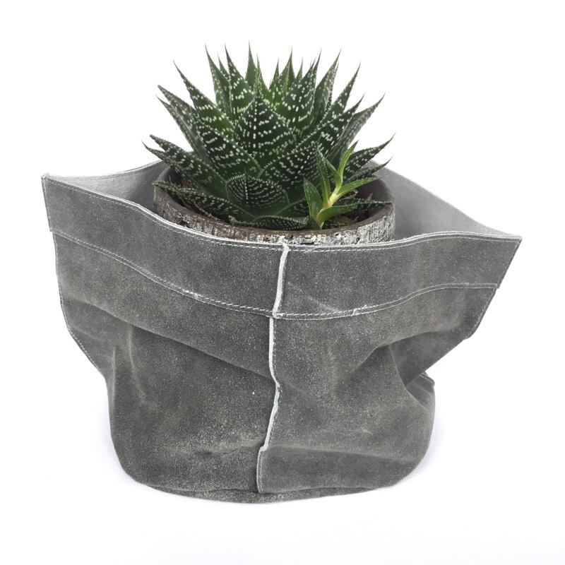 Lime-Light Pot suede leer grijs 20x20 cm