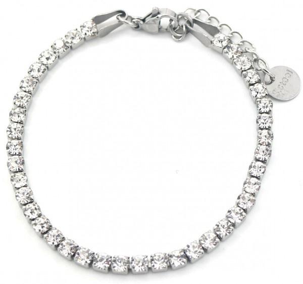 Zilverkleurige tennisarmband met crystal witte steentjes