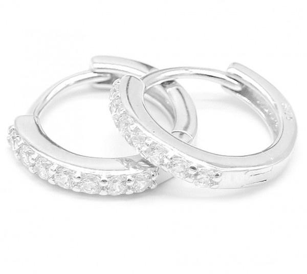 Zilveren (925S Silver) oorbellen met Zirconia steentjes