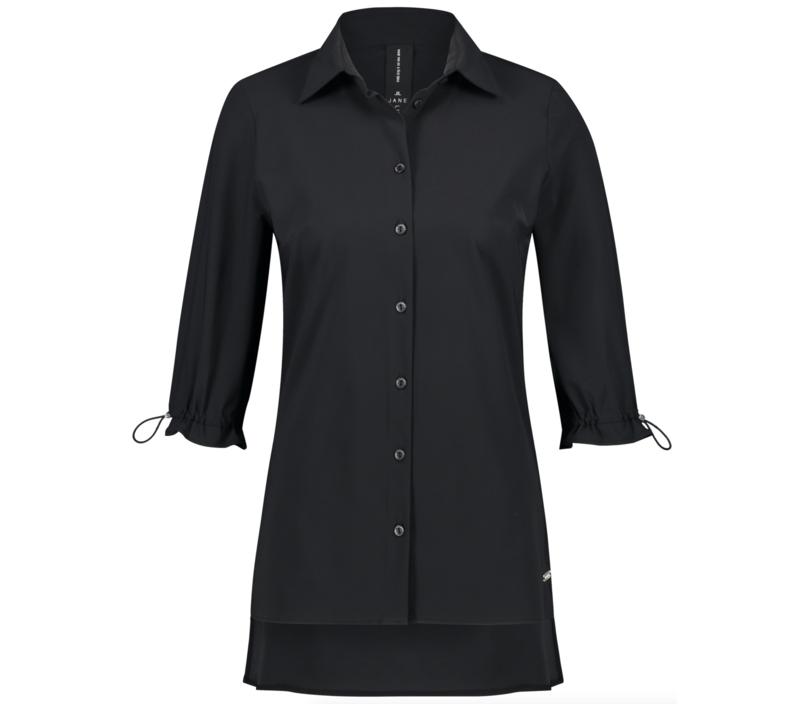 Jane Lushka 2021 Flora zwarte travelstof blouse U72126080