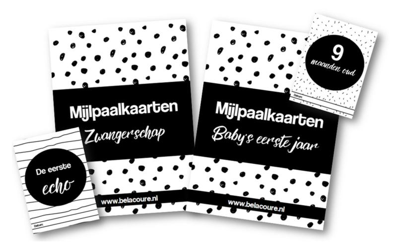 Complete set mijlpaalkaarten | Zwart & wit