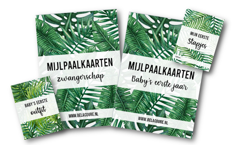 Complete set mijlpaalkaarten | Tropical leaves