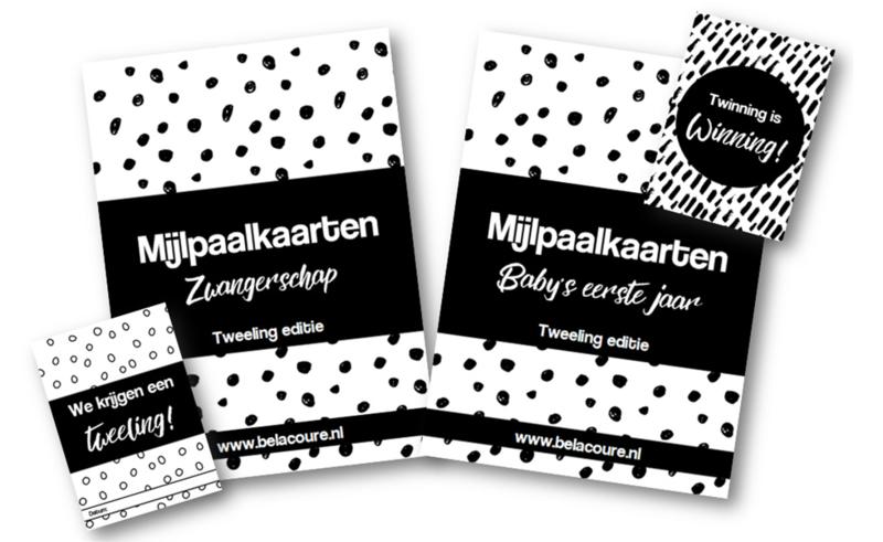 Complete set mijlpaalkaarten   Zwart & wit (tweeling editie)