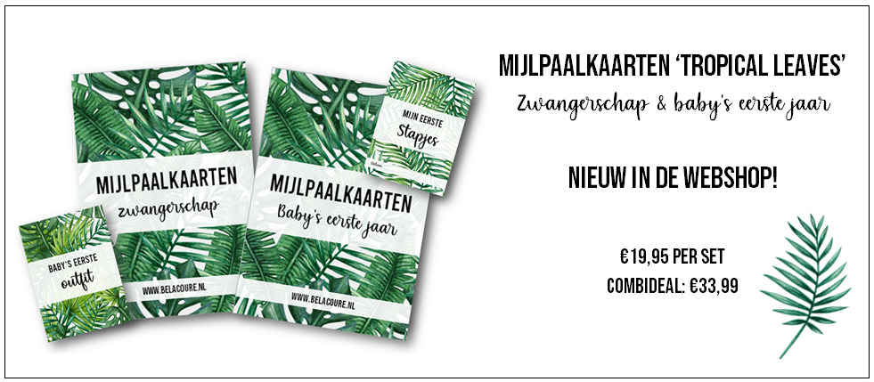 Mijlpaalkaarten tropical leaves