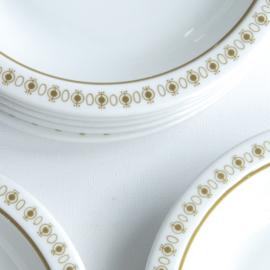 Diep bord - vintage - olijfgroene rand - set van twee