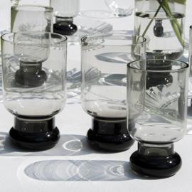 Glas - vintage - op voet - set van twee