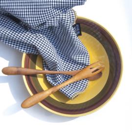Servet Bliek Tof Tafelen - ruit/gele rand - set van twee