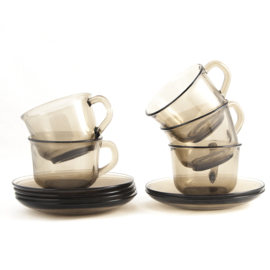 Kop en schotel - vintage -  Arcoroc - set van twee