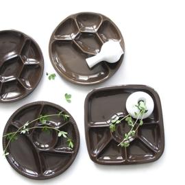 Bord - vintage - vakverdeling - vierkant - chocoladebruin