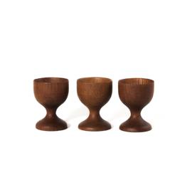 Eierdop - vintage  - teak - set van drie