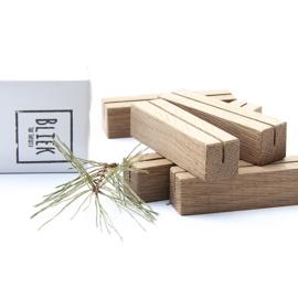 Menukaarthouder - set van zes - eikenhout