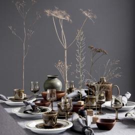 Diep bord - vintage - olijfgroene rand - set van acht
