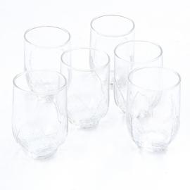Glas - waterglas - vintage - met reliëf blad - set van zes